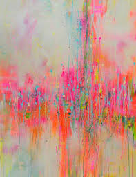in the mist pink abstract painting by artist marta zawadzka discover more