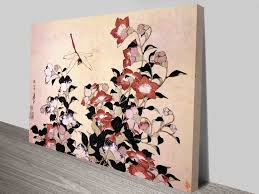 hokusai chinese bell flower and dragon fly traditional japanese wall art