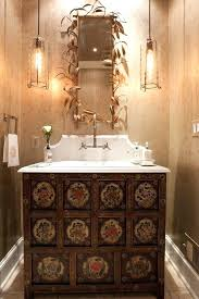 metallic mirrors powder room transitional with square towel ring contemporary rings wooden rail and toilet roll