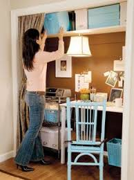 office closets. blue and tan home office in a closet idea closets