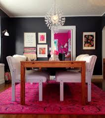 view in gallery overdyed rug in a vibrant modern dining room
