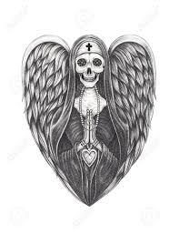 Angel Sketch Art Angel Nun Skull Hand Pencil Drawing On Paper