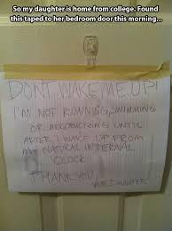 Funny Door Daughter Room Sign Taped