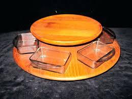 2 tier lazy susan spice rack vintage mid century danish modern teak two with six glass