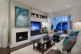 creative of modern living room with tv and fireplace with traditional wall unit with fireplace