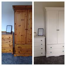 Pine Wardrobe And Drawers Upcycled Using 2 Coats Of Wood Primer, 2 Coats Of  Dulux Emulsion In White Chiffon. Knobs Replaced With Funky Coloured Ones  From ...