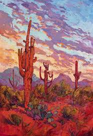 scottsdale saguaro desert commission oil painting by modern oil painter erin hanson