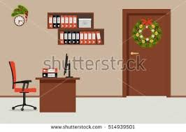 decorated office. Office Room, Decorated With Christmas Decoration. There Is A Table, Red Chair