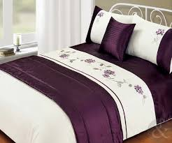 brilliant 5pc bed in a bag embroidered duvet cover faux satin silk aubergine bedding sets decor