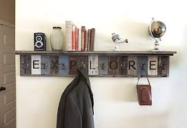 Distressed Wood Coat Rack With Shelf Stunning Amazon Personalized Reclaimed Wood Coat Rack Barn Wood Hooks W