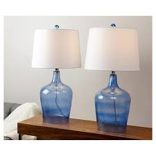 unique blue glass table lamps on abbyson living delmore lamp set of 2 target