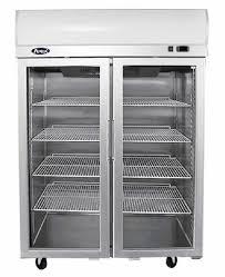 top mounted double door glass freezer