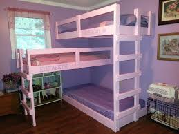 Favored Kids Bedroom Furnishings Ideas With White Wooden Custom Handmade Triple  Bunk Bed Added Colorful Bed Cover Sheet On Wood Floors Views