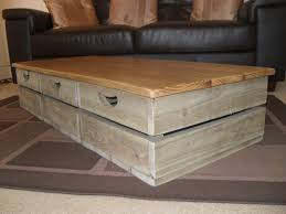 image of rustic storage coffee table drawers