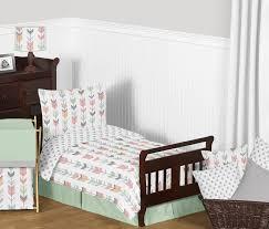 grey c and mint woodland arrow girls toddler bedding 5pc set by sweet jojo