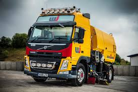 volvo super sweeper clears the way for uk road marking the globetrotter lxl cab features full standing interior height of 2100 mm 1670 mm over the engine tunnel leather upholstery and extra storage lockers