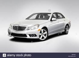 2010 Mercedes-Benz E-Class E350 in Silver - Front angle view Stock ...
