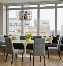 tulip table and chairs. Dining Room: White Saarinen Oval Tulip Table And Grey Banquet Built In Bench Also Chairs