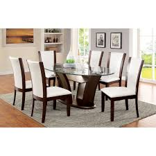 glass dining room set. Furniture Of America Lavelle 7 Piece Tempered Glass Top Dining Table Set - White | From Room T