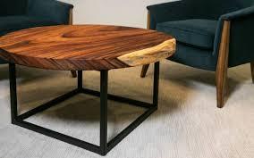 industrial wood slab coffee table
