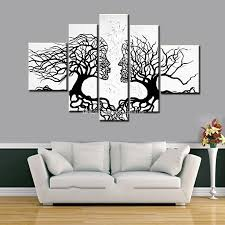 100 hand made promotion black white tree canvas painting abstract inside most popular black and