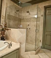 luxurious shower room with simple shower and glass curtain side door plus sweet flowers on unusual planter closed bathtub in small bathroom remodel ideas