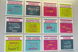 the twelve values of thirty one gifts are displa throughout the home office