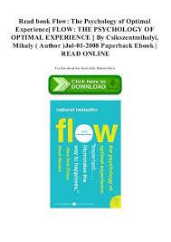 Flow The Psychology Of Optimal Experience Csikszentmihalyi Magazines