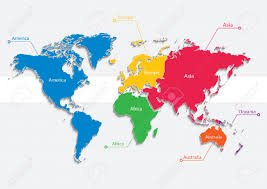 World Map Europe And Asia World Map Continents Colors Vector Individual Separate Continents
