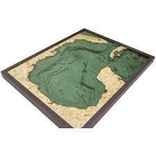 Gulf Of Mexico Bathymetric Wood Chart