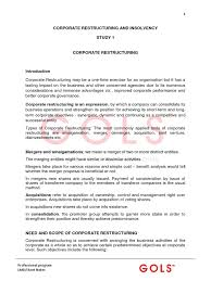 Corporate Restructuring Short Notes Mergers And Acquisitions