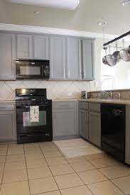 Outstanding Gray Kitchen Cabinets With Black Appliances Idea Full Hd