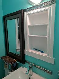 Bathroom Diy Ideas Unique I Made A Recessed Medicine Cabinet Hidden Behind A Sliding Mirror