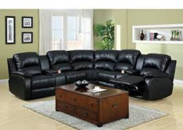 black recliner couch. Brilliant Black 3 Pc Wolcott Contemporary Black Bonded Leather Reclining Sectional Sofa Set  With Center Drink Consoles Throughout Black Recliner Couch E