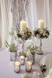 Teal Winter Wedding Table Decor In Candlehers Winter Table Decorations Plus  Silver Votives Vases in Wedding