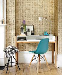 office wall desk. brilliant desk desk with turquoise chair and letterpress wallpaper inside office wall