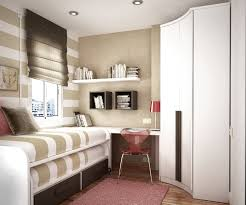 ... Cool Bedroom Design With Entrancing Look Of Small Room Space With Bunk  Bed And Minimalist White Desk Plus Wall Shelf Aslo Corner White Wardrobe  Complete ...