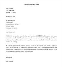 Termination Of Contract Letter Template Business
