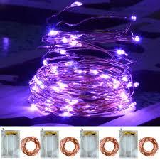 Battery Operated Halloween Mini Lights Amazon Com Chasgo 4 Packs 16 4ft 50 Led Purple Fairy