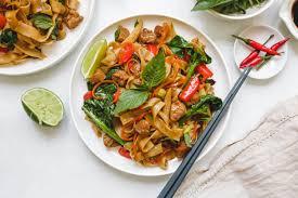 vegan thai drunken noodles pad kee mao
