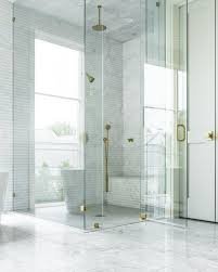 seamless glass shower with brass hinges and brass door handle