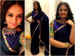 Makeover Saree Designs Plain Sarees With Designer Blouse Combinations 12 Keep