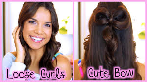 Bows In Hair Style quick and easy loose curls cute hair bow youtube 6171 by wearticles.com