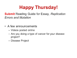 happy thursday submit reading guide for essay replication errors  1 happy thursday