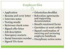 Employee File Checklist Documentation Procedures Yk