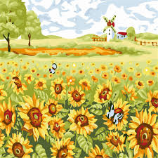 sunflowers field picture painting by numbers modern windmill wall art picture diy hand painted canvas coloring
