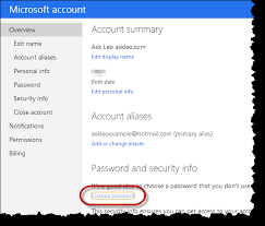 How Do I Change My Hotmail Or Outlook Com Password Ask Leo