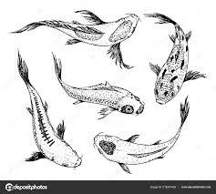 набор карпы кои японский рыбный корейский животных гравированные
