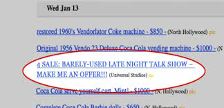 Craigslist Vending Machine Mesmerizing Conan O'Brien Tries To Sell The Tonight Show On Craigslist