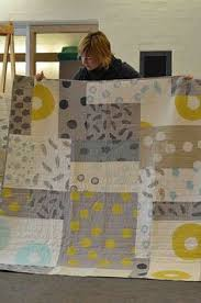 Grey and Yellow Quilt   Yellow quilts, Modern and Gray & Melbourne Modern Quilt Guild: nice modern quilt for large patterned fabric! Adamdwight.com